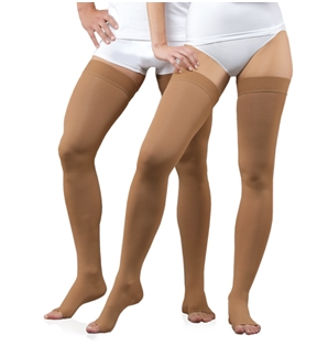 Medical Compression Stockings without toe cap, with silicone waistband